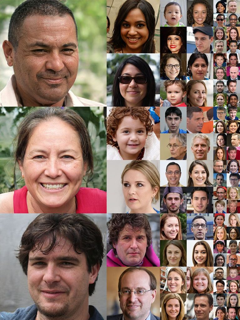 fake faces generated by AI