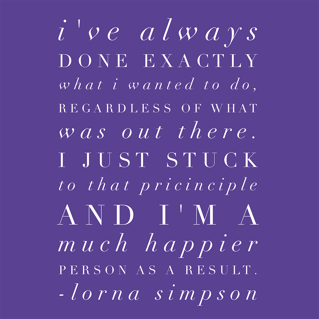 lorna simpson quote about photography