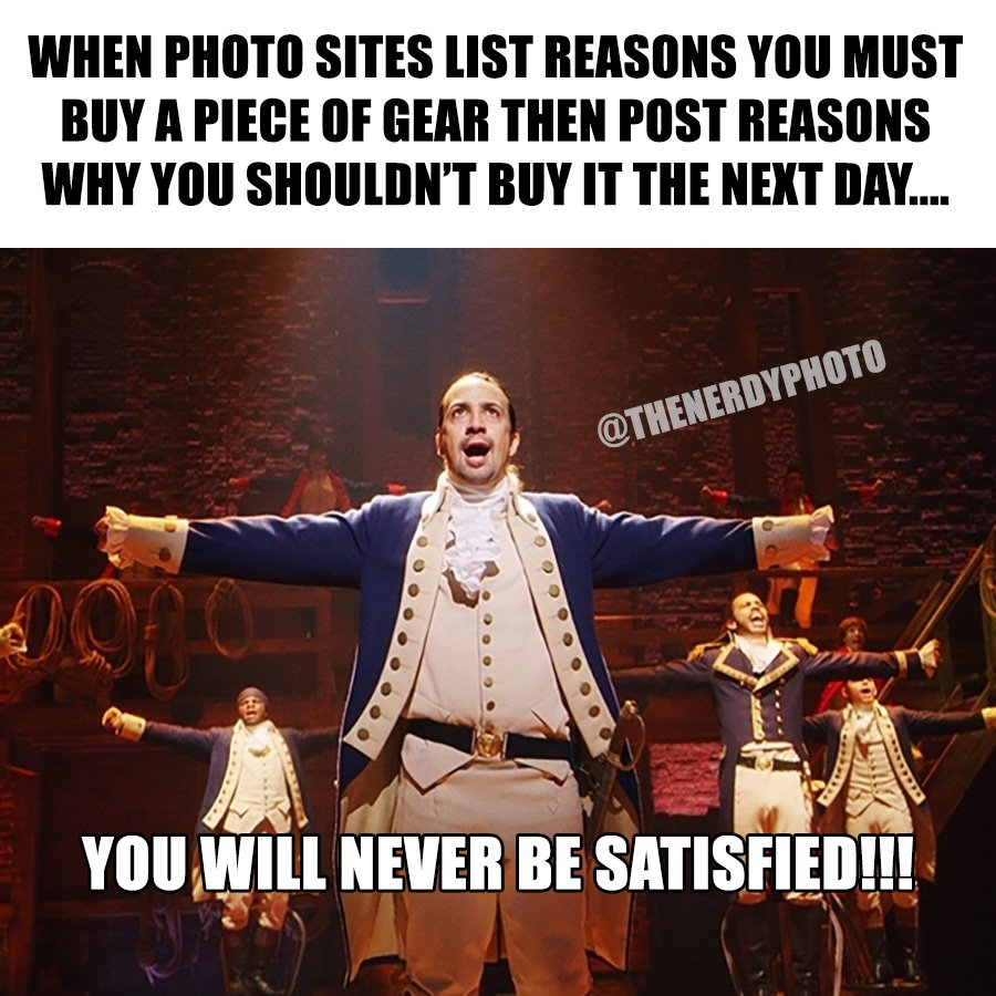 photography websites talking about photo gear hamilton meme