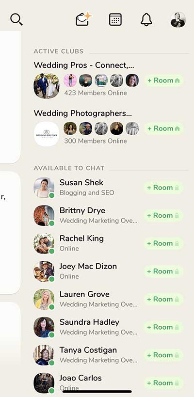 photographers and wedding pros on clubhouse app