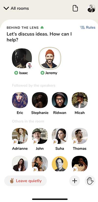 photographers on clubhouse app