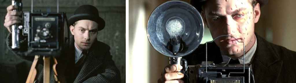 Creepy AF Jude Law as crime scene photographer in Road to Perdition
